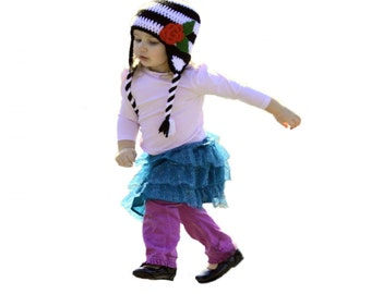 Black & White Girls Hat, Striped Baby Hat, Girls Crochet Hat, Knit Baby Hat, Red Rose, Striped Girls Hat, Toddler Girls Crochet Earflap Hat