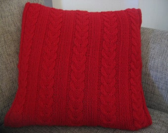 Red Cable Knitted Cushion. Hand Knitted Pillow Cover. Cozy Home Decor. Valentines Day Gift.