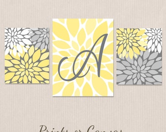 Nursery Art Monogram Wall Decor Prints or CANVAS Custom Art Babys Bedroom Personalized Baby Shower Gift Flower Art Set Yellow Gray