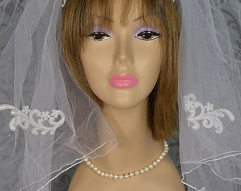 "Bridal Wedding Headband of Pearly White Applique & Faux Pearls with 30″ Blusher ""45 Veil"