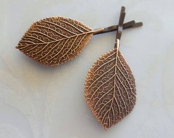 Copper Large Leaf Bobby Pins, Set of Two Hair Pins, Woodland Rustic Nature Garden Wedding Hair Bridal Party Bridesmaids Aspen Leaf