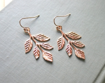 Rose Gold Leafy Branch Earrings- Pink Gold Woodland Wedding, Nature, Boho