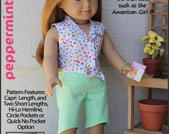 Pixie Faire Peppermintsticks The Friendship Garden Capri and Shorts Doll Clothes Pattern for 18 inch AG Dolls - PDF