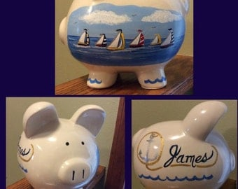 Personalized Piggy Bank Custom Painted