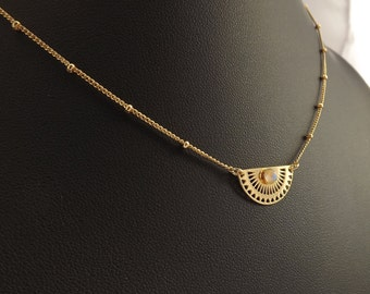 Necklace Zenith fine gold with Moonstone, rainbow moonstone