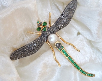 Vermeil and Sterling Diamond, Emerald, and Pearl Dragonfly Brooch Pin