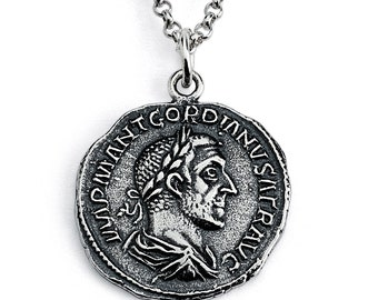 Gordian Roman Emperor Replica Ancient Imperial Coin Money Currency Numismatic Charm Pendant Necklace #925 Sterling Silver #Azaggi N0432S