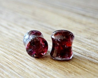 garnet Gauges Plugs double flare stone plugs stones plugs organic Plug 4g 2g 0g 00g 1/2 9/16 5/8 11/16 13/16 13/16 7/8 inch 15/16 1in 2in