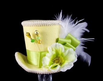 Yellow, Green, and Cream Flower Large Mini Top Hat Fascinator, Alice in Wonderland, Mad Hatter Tea Party, Derby Hat, Spring Hat