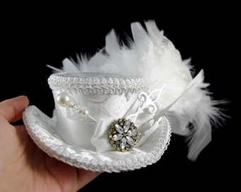 White on White with Silver Clock Hands Steampunk Mini Victorian Riding Hat Fascinator, Marie Antoinette, Alice in Wonderland, Derby Hat