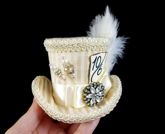 Cream Striped Small Mini Top Hat Fascinator, Alice in Wonderland, Mad Hatter Tea Party, Derby Hat