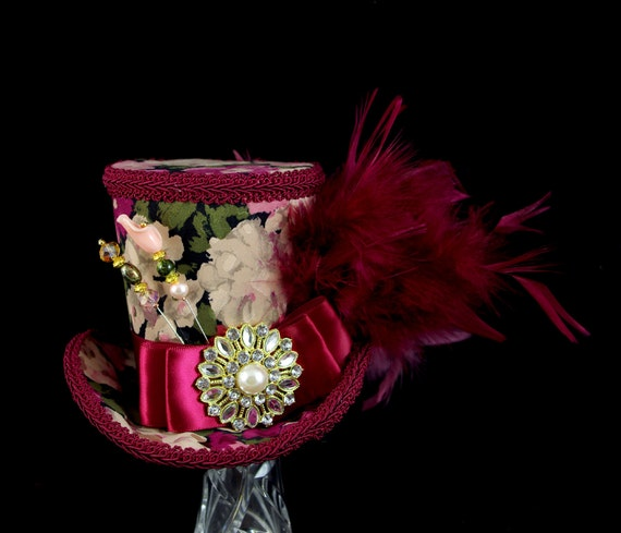 Burgundy Wine, Green, and Cream Floral Empress Collection Large Mini Top Hat Fascinator, Alice in Wonderland Mad Hatter Tea Party, Derby Hat