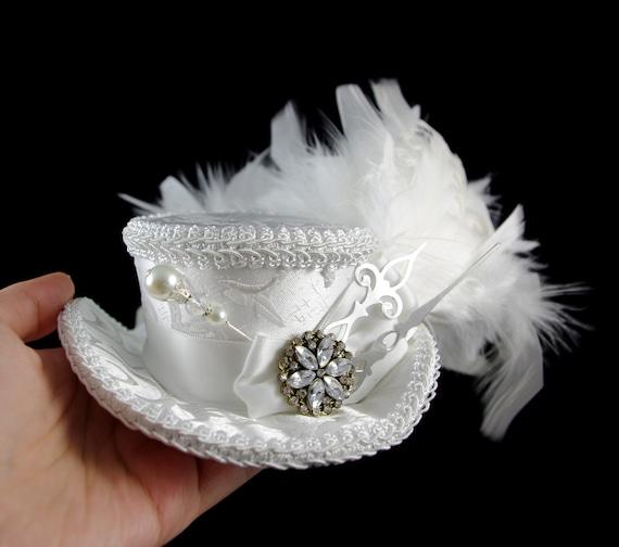 White on White with Silver Clock Hands Steampunk Mini Victorian Riding Hat Fascinator, Marie Antoinette, Alice in Wonderland, Derby Hat