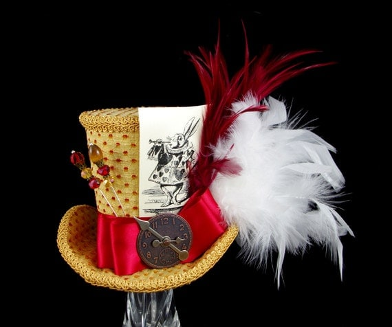 White Rabbit Illustration Red and Gold Steampunk Large Mini Top Hat Fascinator, Alice in Wonderland, Mad Hatter Tea Party, Derby Hat