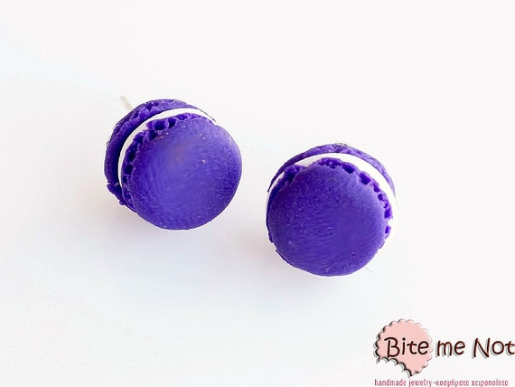 Purple Macarons Studs Earrings, Macaron Earrings, French Macaron Posts, Polymer Clay Food Earrings, Macaron Jewelry, Miniature Food Jewelry,