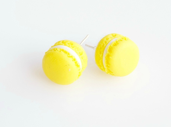 Yellow Macarons Studs Earrings, French Macaron Posts, Macaron Earrings, Polymer Clay Food Earrings, Macaron Jewelry, Miniature Food Jewelry
