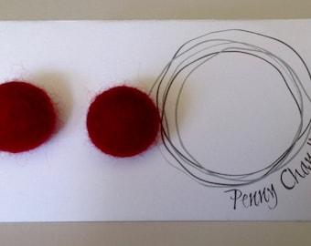 Blood Red Felted Pearl Earrings