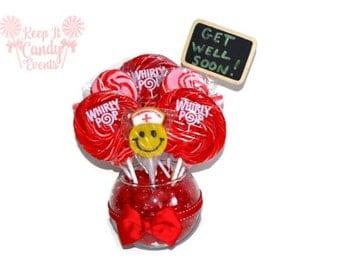 Customizable Lollipop Candy Get Well Soon Small Arrangement, Get well soon Candy, Nurse Gift, Doctor Gift, Get Well Soon Gift Idea
