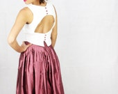 Custom made White Crop Top with Satin Buttons ahd an Hole on the back Handmande - Princmay