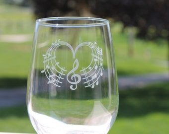 Music wine glass, stemless wine glasses, Music notes, Wine glasses, heart, Teachers gift, Etched Stemless wine glasses,  stemless wine glass