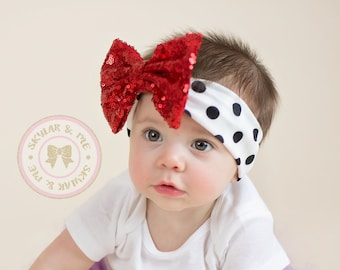 Baby girl Headband,  Sequin trim headband, Baby Girl Headband, Infant Headband, Headband, Photo Prop