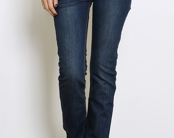 Blue Cotton High Waist Jeans.