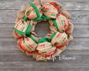 HoHoHo Wreath, Santa Wreath, Red and Green Wreath, Christmas Wreath, Holiday Wreath, Front Door Wreaths