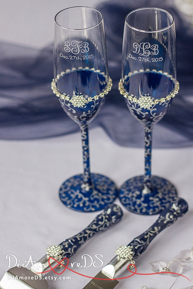 wedding cake cutters and flutes navy amp silver wedding set and groom toasting flutes and 22313