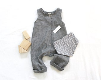 Made to Order Baby Linen/Cotton Snap Up Romper in Black