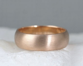 6mm 14K Rose Gold Wedding Band – Men's or Ladies Wedding Rings – Matte Finish – Pink Gold – Commitment Rings – Classic Rounded Bands