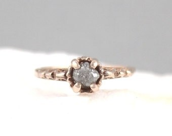 14K Rose Gold Raw Diamond Ring - Antique Styled Engagement Ring - April Birthstone Rings - Conflict Free Uncut Rough Raw Gemstone Rings