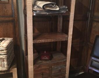 Rustic Bookshelf with Drawer Storage