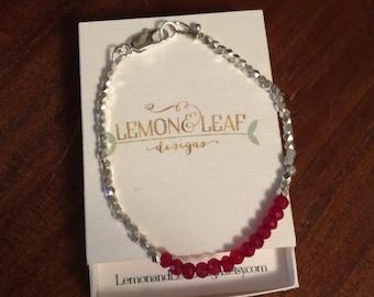 ruby gemstone and silver Karen hill tribe bead bracelet