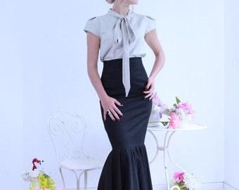 black maxi skirt, pencil maxi skirt, floor length skirt, evening wear, mermaid black skirt