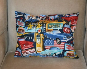 Travel Pillow Case / Accent Pillow Case ROUTE 66 / ROAD TRIP / America / Classic Cars