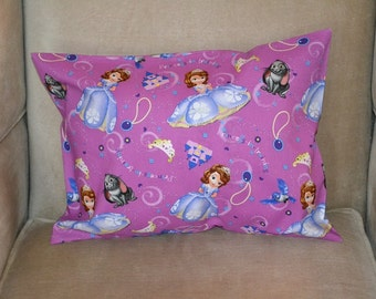 Travel Pillow Case / Child Pillow Case Disney PRINCESS SOFIA the FIRST / Princess in Training