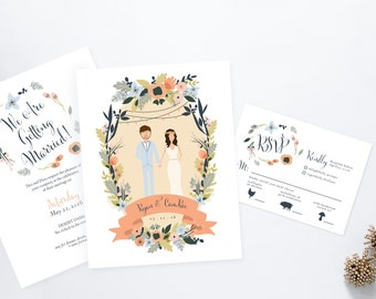 Joshua Tree Desert Oasis Sage and Pink Couples Wedding Invites /// Illustrated Couples Portrait /// Illustrated Family Portrait
