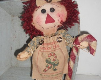Candy cane Annie, raggedy Annie,primitive Christmas,