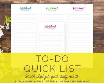 Printable Daily To-Do List | DIY daily home organization: Instant Download