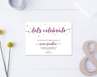 Let's Celebrate // Birthday Invitation // Metallic Gold & Purple // DIY Printable File // Digital PDF File