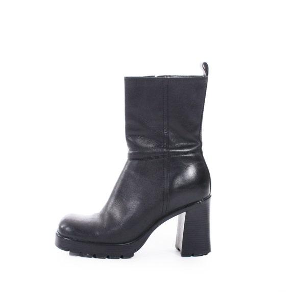 90s Vintage Black Leather Chelsea Boots Chunky Platform High
