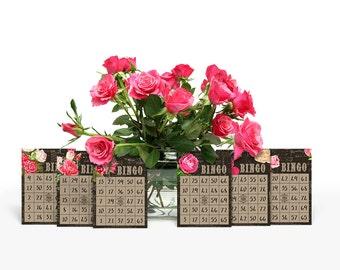 Printable bingo cards / decorative floral vintage bingo cards / scrapbooking, cardmaking / scrapbook embellishments / digital collage sheet