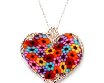 "Heart Necklace – 925 Sterling Silver Handmade Multicolored Millefiori Polymer Clay Pendant - 16.5"" Chain"
