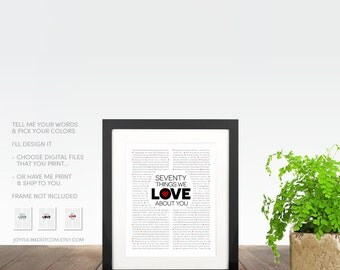 Things We Love About You 21st 30th 50th 60th 70th 80th Birthday Gift. Your WORDS + Colors. Printable -OR- Shipped. Mom, best friend, Dad +