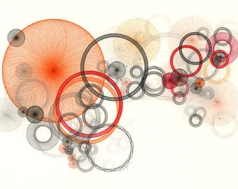 Orange Abstract Art, Giclee Print, Orange Wall Decor, Expressionist Circle Art, Geometric Art, Mod Art Print