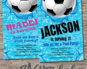 Soccer Pool, Birthday Invitation, Printable, swim party