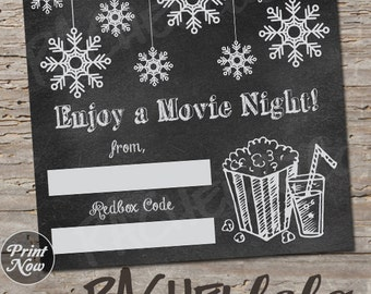 Redbox Code chalk snowflake, winter movie night gift tag, last minute gift, teacher, neighbor, printable template, instant digital download