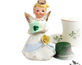 Irish Figurine, March Angel Collectible, Irish Memorabilia, St Patrick's Day Decor