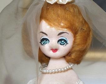 SALE* Vintage 1960s stockinette cloth Twiggy Japan bride doll