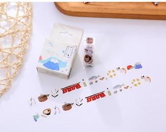 15mmX10M SAKE Cat Fuji Mountain Japanese Food Washi Tape Diary Masking Tape